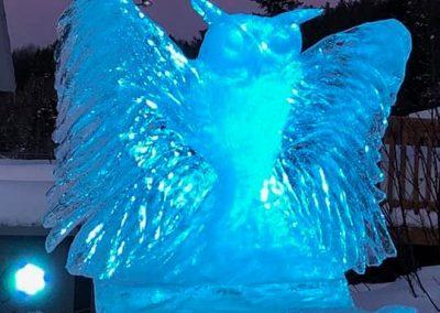 Photo de soir- sculpture sur glace- Festival St-Côme en Glace 2020