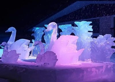 Photo de soir- sculpture sur glace signes- Festival St-Côme en Glace 2020
