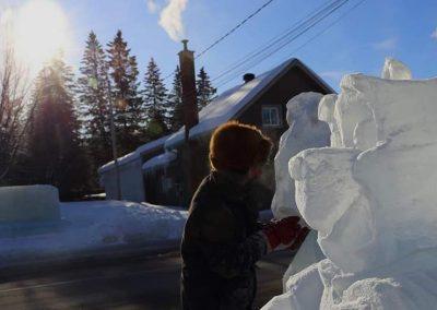 Photo - sculpture sur neige- Festival St-Côme en Glace 2020